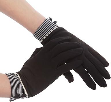 Kenmont - Guantes de algodón para mujer, protección solar UV para exterior o conducir, para verano negro talla única: Amazon.es: Ropa y accesorios