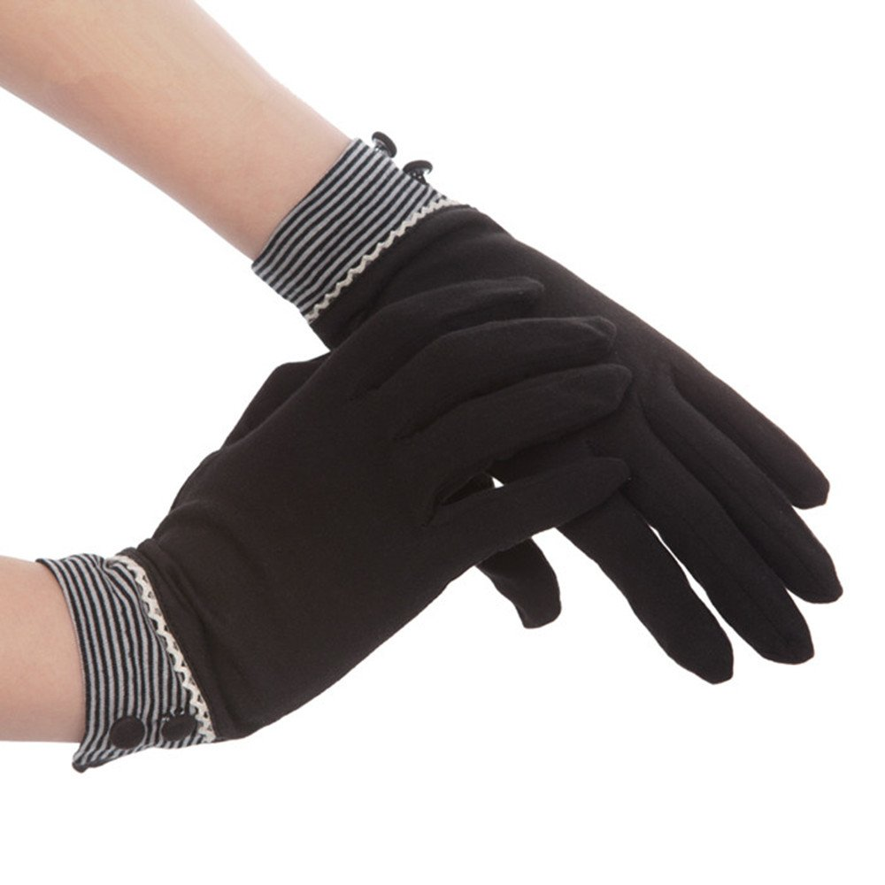 Kenmont Summer Women Sun Uv Protection Outdoor Solid Cotton Driving Gloves (Black)