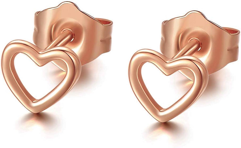 Rose Gold heart earrings Gold Heart stud earrings Minimalist earrings Open Heart stud Earrings Dainty Heart Heart outline earrings