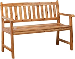 Anjor 2 Seat Outdoor Garden Bench 4 Feet Wood Patio Furniture Front Porch, Lightly Toasted