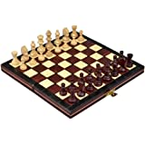 """Travel Magnetic Chess Set w/ Wooden 9.25"""" Board and Chessmen"""