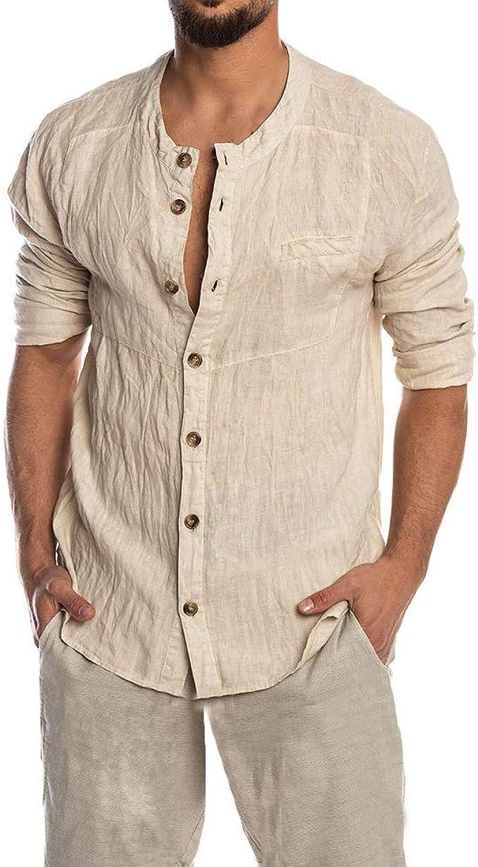 Camisa de algodón para Hombre, Manga Larga, Estilo Hippie, para Playa, Yoga - Blanco - Medium: Amazon.es: Ropa y accesorios