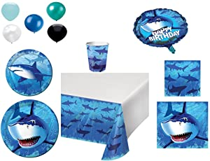 Disposable Plates/Napkins/Cups/Tablecloth/Balloons Shark Splash Themed Party Pack, 8 Piece Bundle