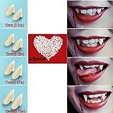 Vampire Teeth Fangs Fake Teeth - 4 Pair - Cosplay Props Halloween Costume Props Party Favors (13mm 15mm 17mm 19mm…