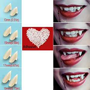Vampire Teeth Fangs Fake Teeth - 4 Pair - Cosplay Props Halloween Costume Props Party Favors (13mm 15mm 17mm 19mm) - with Adhesive