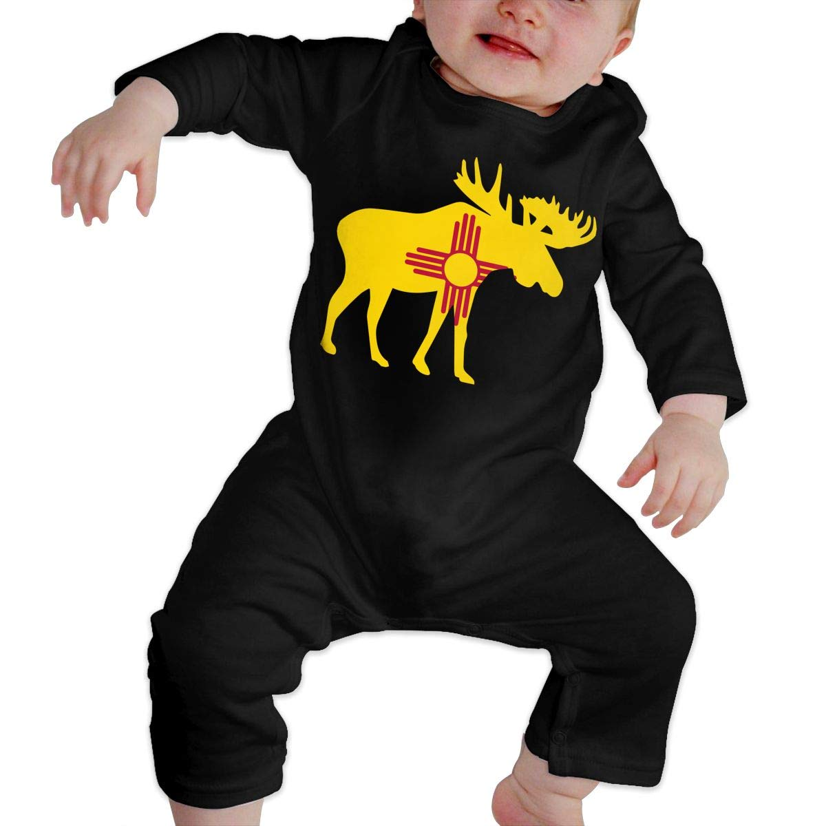 Cute New Mexico Moose Playsuit U99oi-9 Long Sleeve Cotton Rompers for Baby Girls Boys