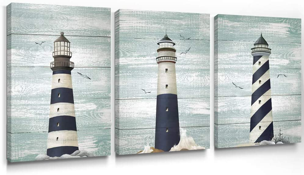 Adecuado Coastal Wall Art Lighthouse Ocean Canvas Paintings Sea Picture Vintage Artwork Framed Rustic Home Decor Ready to Hang for Bathroom Bedroom 12x16 Inch, 3 Panels