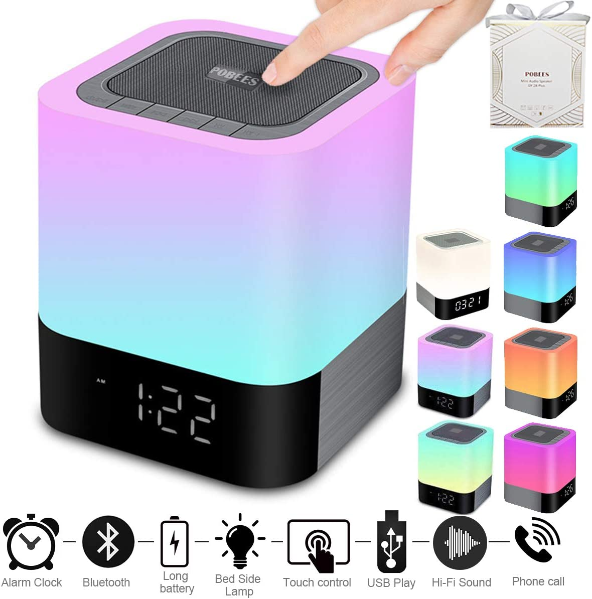 Portable Wireless Bluetooth 4 0 Speaker  Newest Version  - Big Sound Heavy Base  48 Led Changing Color Dimmable Warm Light Night Lamp Alarm Clock Hand-Free Call MP3