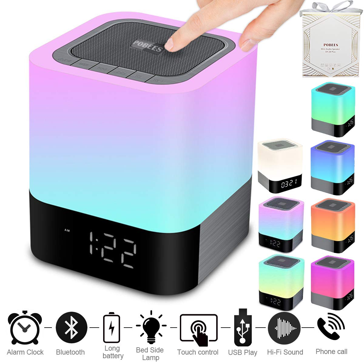 Portable Wireless Bluetooth 4.0 Speaker (Newest Version) - Big Sound Heavy Base, 48 Led Changing Color,Dimmable Warm Light Night Lamp,Alarm Clock,Hand-Free Call,MP3