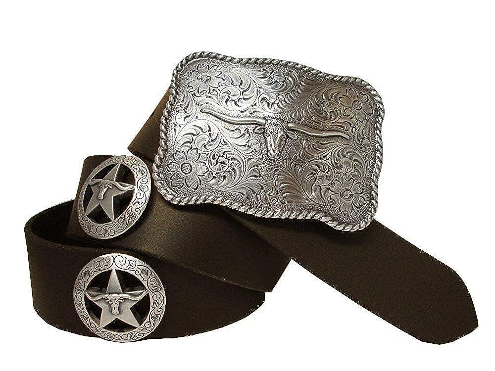 Hagora Men Black Genuine Cowhide Silver /& Gold Star Concho Longhorn Buckle Belt