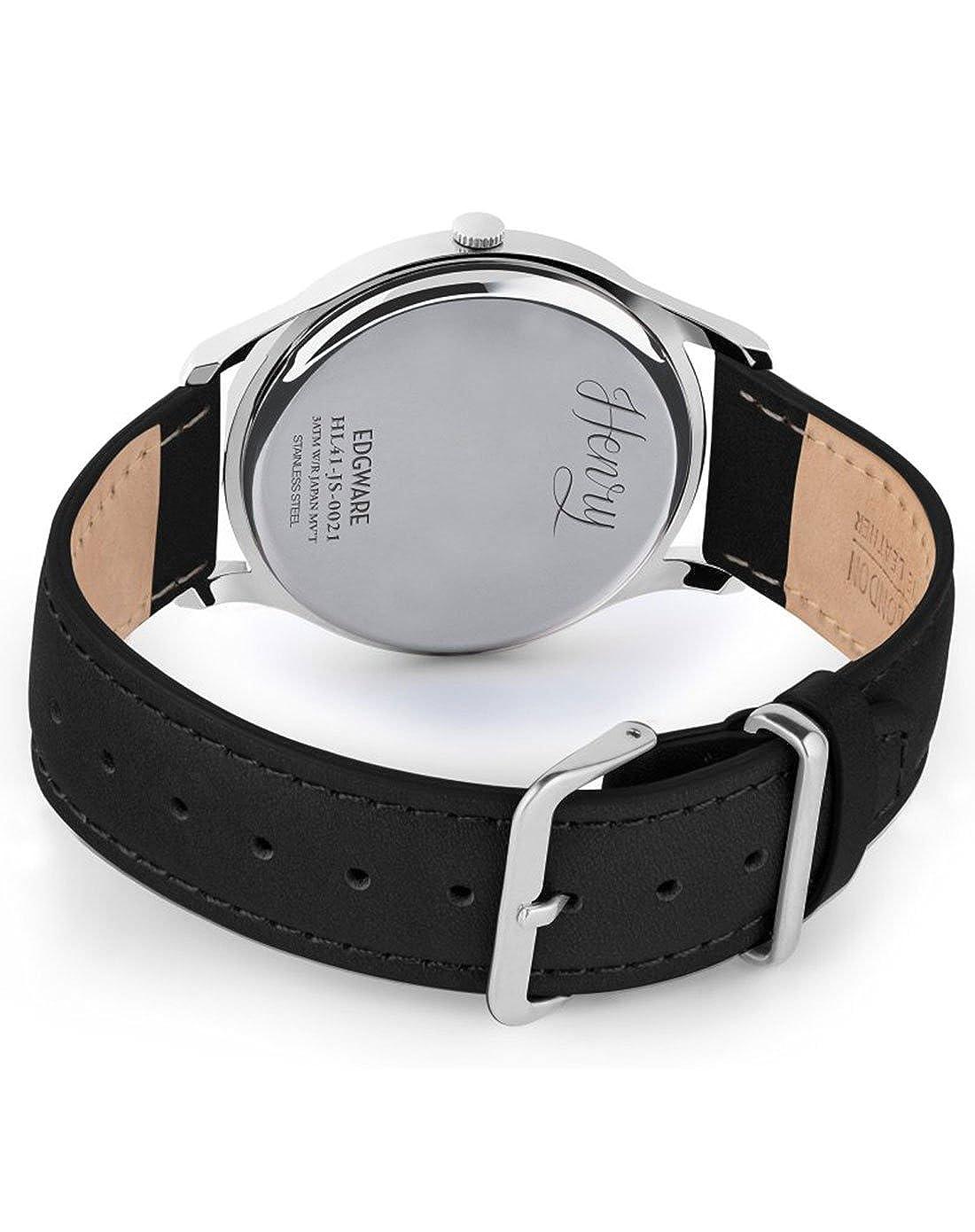 Henry London Reloj Analógico para Hombre de Cuarzo con Correa en Cuero HL41- JS-0021: Amazon.es: Relojes