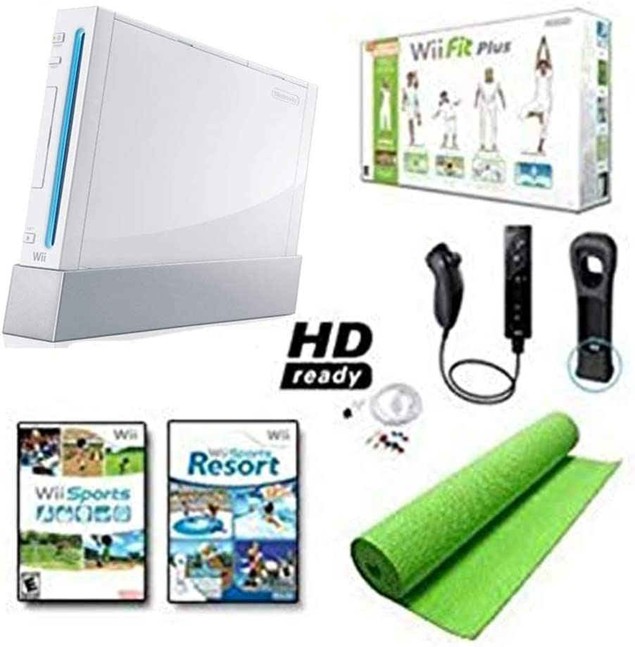 Nintendo Wii Black System HD Ready Wii Fit Plus, Balance Board Mat Bundle