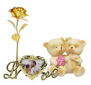 Saugat Traders Valentine Day Love Gift - Love Couple Showpiece & Artificial Red Golden Rose with Love Photo Frame Stand