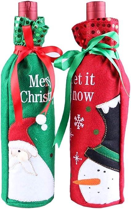 Navidad Papá Noel Vino Botella Decoración Funda Cover Para Regalo de navidad Home Dinner Party – Decoración de mesa (2-Pack, verdes y rojos Muñeco de nieve Santa): Amazon.es: Oficina y papelería