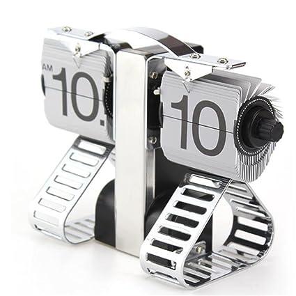 ZHAS Reloj alarma Creative Tanque Robot Modelado Flip Flop reloj automático Simple Casa Salón decoración reloj