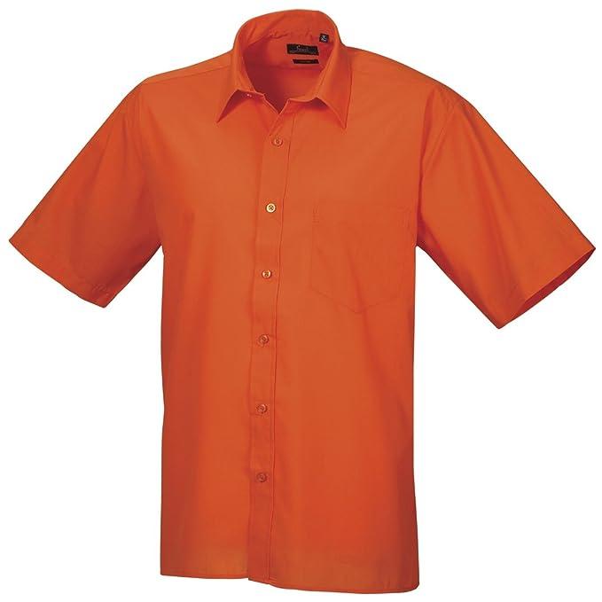 Premier - Camisa lisa de manga corta de caballero/hombre Diseño formal Tejido papelina (