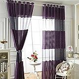 Stripe Sheer Window Curtain Panel Grommet Top for study 52W x 96L Inch purple 1 panel