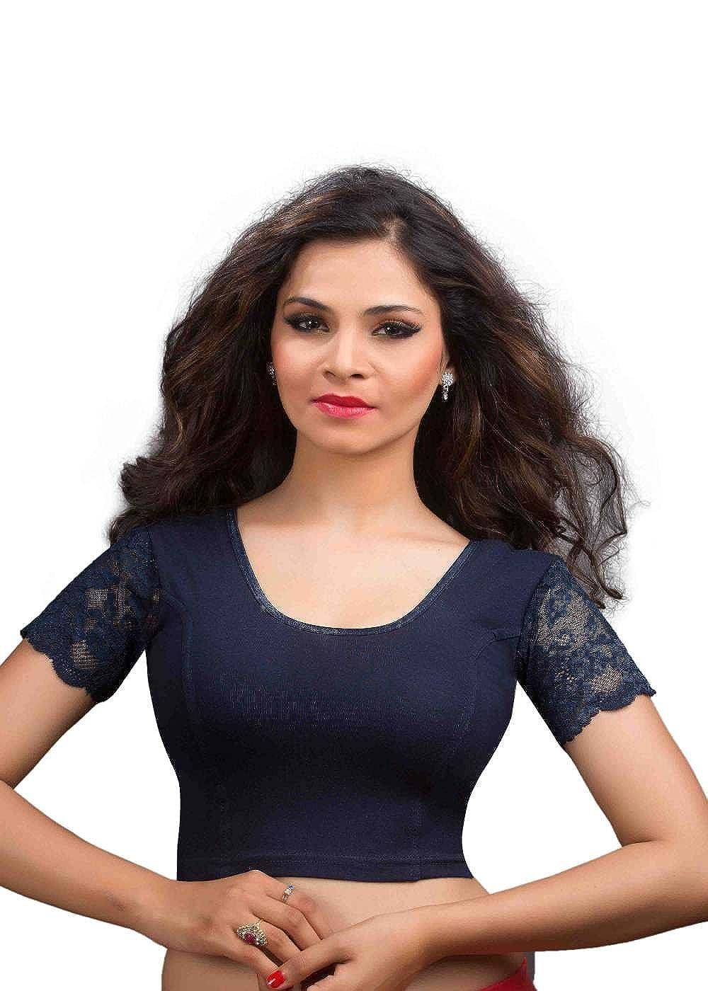 4814a7659cd4e5 salwar studio women s navy blue cotton lycra readymade strechable saree  blouse