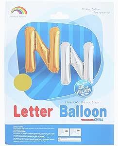 بالونة هيليوم على شكل حرف N من ام كولور بالون - ذهبي