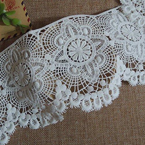 5/10/15Yards Vintage Embroidered Lace Edge Trim Ribbon Wedding Applique DIY Sewing Craft (Y-5Yards, Beige-1)