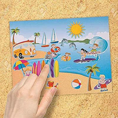 Kicko Make a Surfing Sticker - Set of 12 Summer Outdoor Fun Stickers Scene for Birthday Treat, Goody Bags, School Activity, Group Projects, Room Decor, Arts and Crafts: Toys & Games
