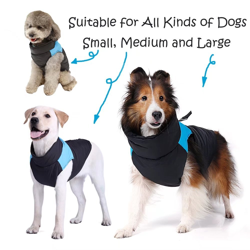 ubest Dog Coat Waterproof with D-Ring Warm Padded Puffer Vest Blue X-Large