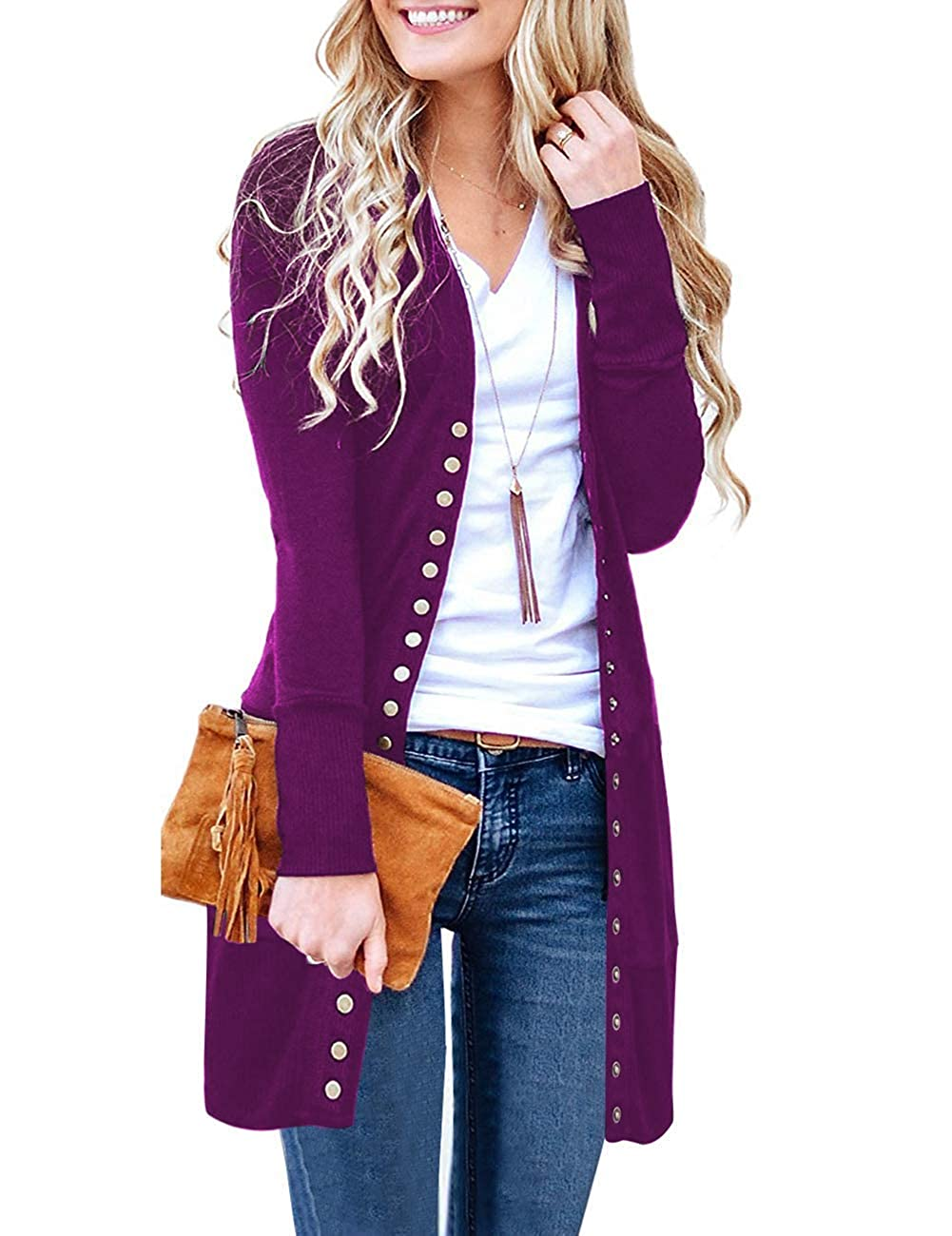Purple Marysay Women's Long Sleeve Snap Button Down Solid color Knit Ribbed Neckline Cardigans