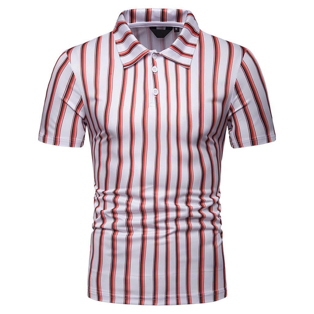 Summer Men/'S Short Sleeve Fashion Color Block Stripe Slim Fit Casual Stand Collar Tops Asibeuil