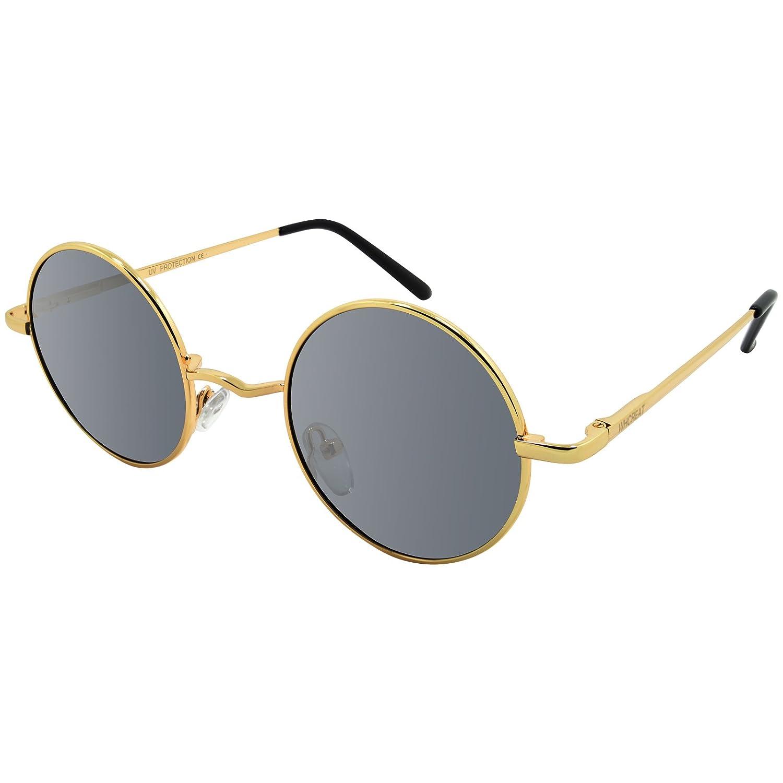 WHCREAT Uralt Retro Unisex Rund Polarisierte Sonnenbrille Federscharnier Metall Rahmen UV 400 Schutz für Männer Frauen - Silber Rahmen Schwarz Linse tuCB3X5m