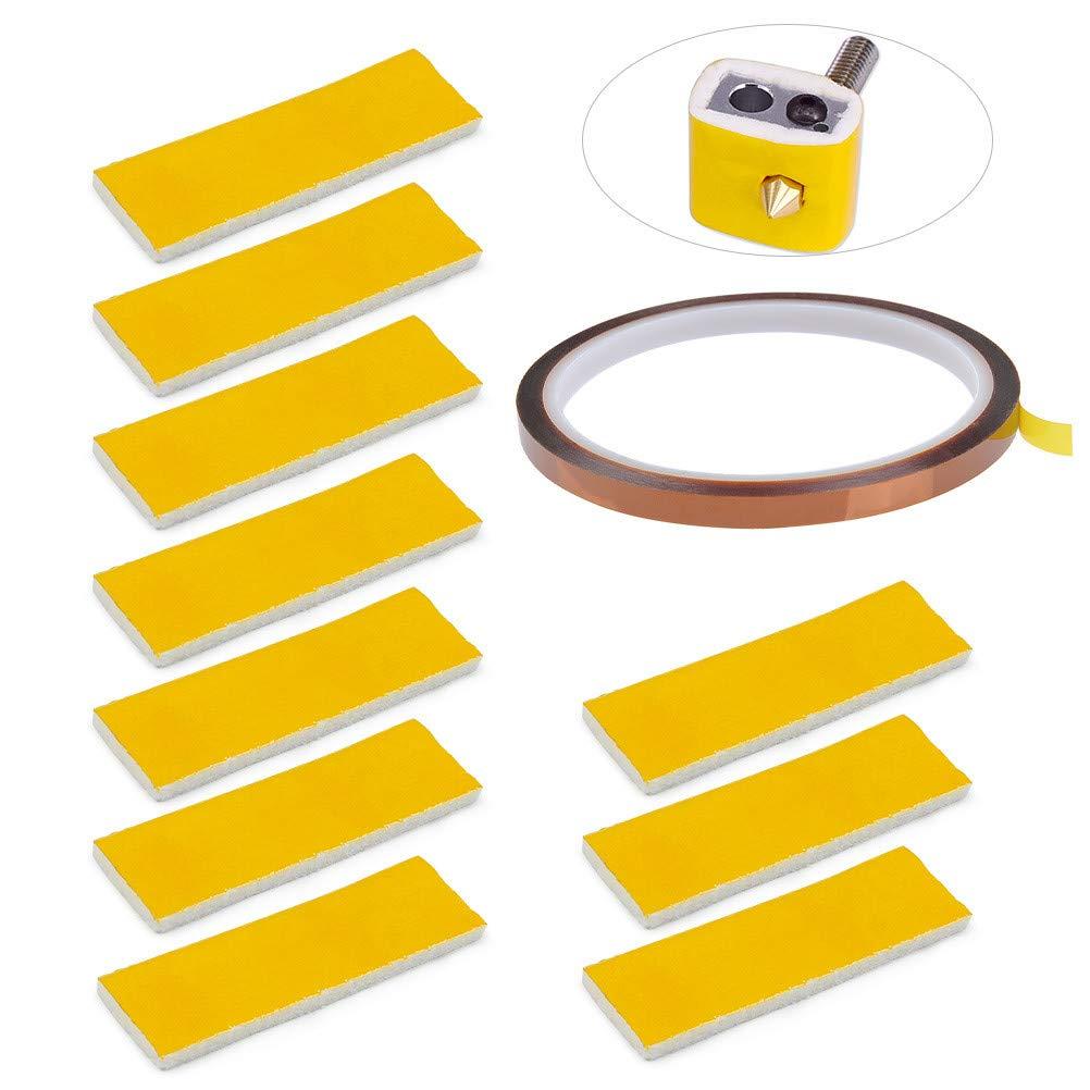 YOTINO 10 Unids 3mm Bloque de Calefacció n de Algodó n y 1 Unids Polyimide Adhesivo de Alta Temperatura Kapton Tape para Makerbot Impresora 3D Hotend Boquilla de Aislamiento Té rmico