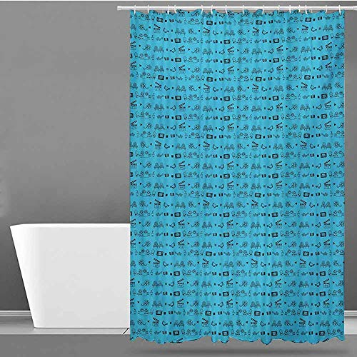 Tim1Beve Bathroom Curtains,Blue and Black Doodle Style Cinema Movie Theater Icons Camera Seat Popcorn Clapper,Bathroom Curtain Washable Polyester,W94x72L,Pale Blue and Black