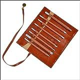 Juego de 8 piezas de cuchillos de madera para tallar a mano, hecho de acero de tungsteno, una bolsa de cuero portátil CYKD02