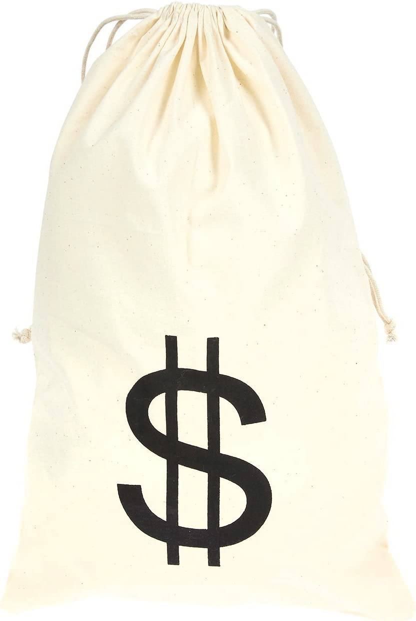 Humorous Party Favor Carry Bag Cream 6.1 x 12.9 inches Juvale 6-Pack Large Fake Money Drawstring Bag Pouch with Dollar Sign Design Robber