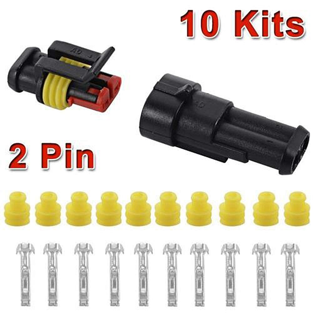 ZREAL 10 Set 2 Pin Waterproof Car ATV Electrical Cable Connector Plug 12V 1gs5de8ge4hk8mr7