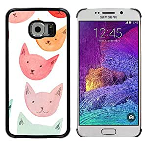 Exotic-Star ( Orange Red Blue Cat Faces ) Fundas Cover Cubre Hard Case Cover para Samsung Galaxy S6 EDGE / SM-G925 / SM-G925A / SM-G925T / SM-G925F / SM-G925I