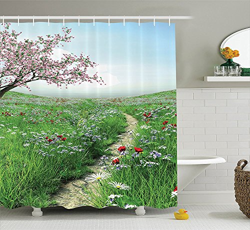 Poppy Decor Collection Pathway with Cherry Blossom Tree Wildflowers Grassland Country Village Image Polyester Fabric Bathroom Shower Curtain Set with Hooks Green Blue (Collection Halloween Movie Scary Village)