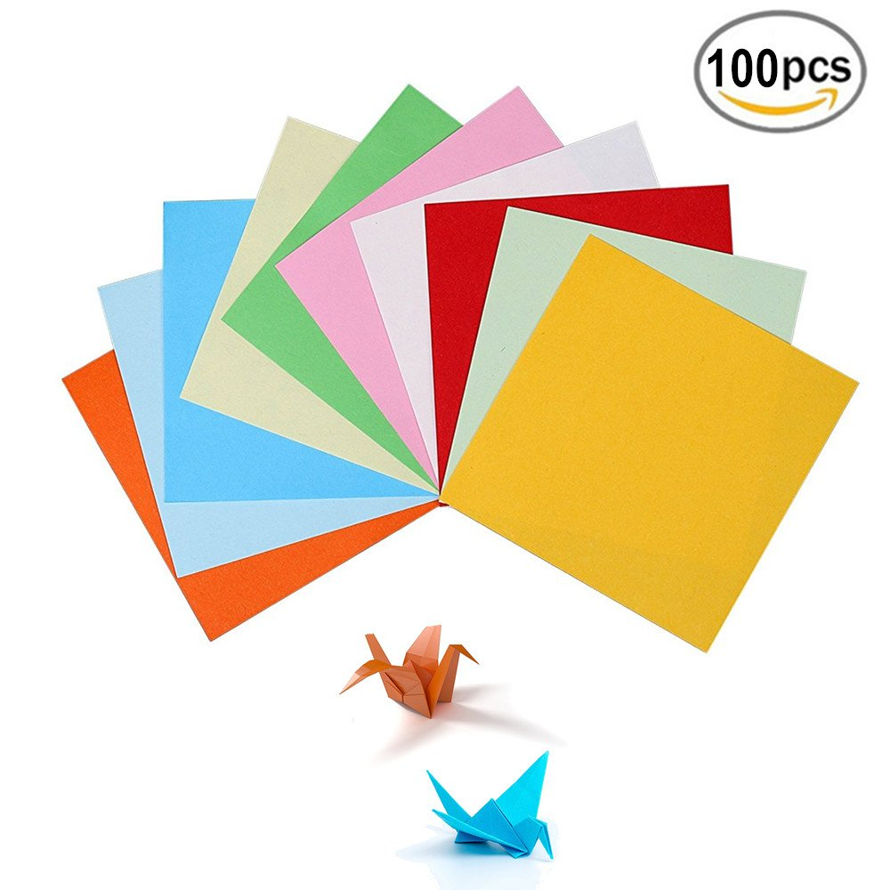 BJ-SHOP Origami,Craft Paper 100 Sheets Double Sided 10CM Paper for Kids Toy Home Party Decoration