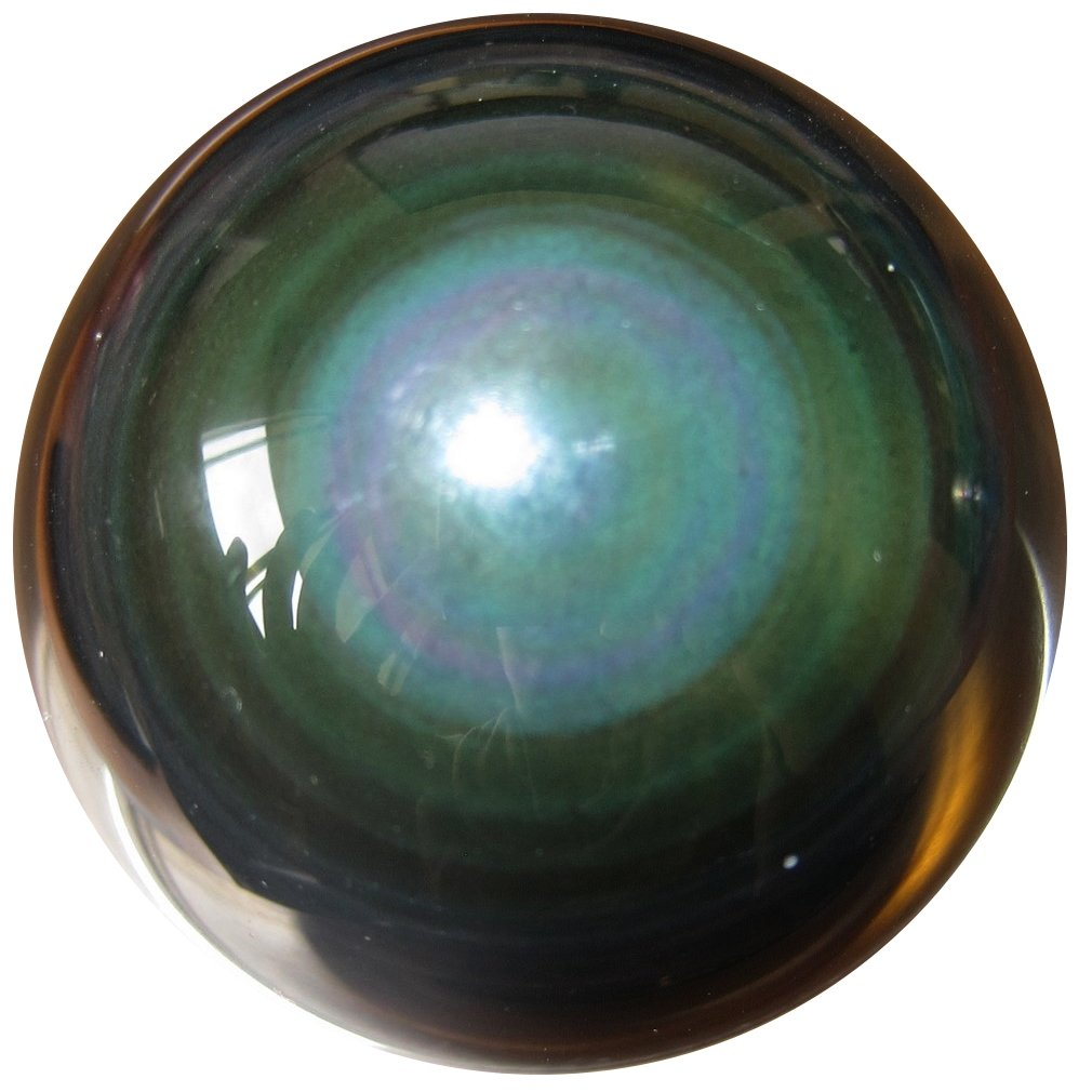SatinCrystals Obsidian Rainbow Ball Premium Quality Upper Chakras Protective Guardian Double Eye Sphere Healing Stone P01 (2.4 Inches) by SatinCrystals (Image #2)
