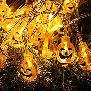 Halloween Pumpkin String Lights, ZALALOVA 13.12ft 30LEDs Battery Powered 3D Jack-O-Lantern Pumpkin Lights Waterproof Fairy Lights for Halloween Decoration Indoor Outdoor Garden (Warm White)