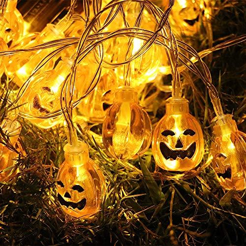 Halloween Pumpkin String Lights, ZALALOVA 13.12ft 30 LED Battery Powered Warm White Halloween Decoration 3D Jack-O-Lantern Pumpkin Fairy Light String for Indoor Outdoor Patio Garden Fences Party Decor by ZALALOVA