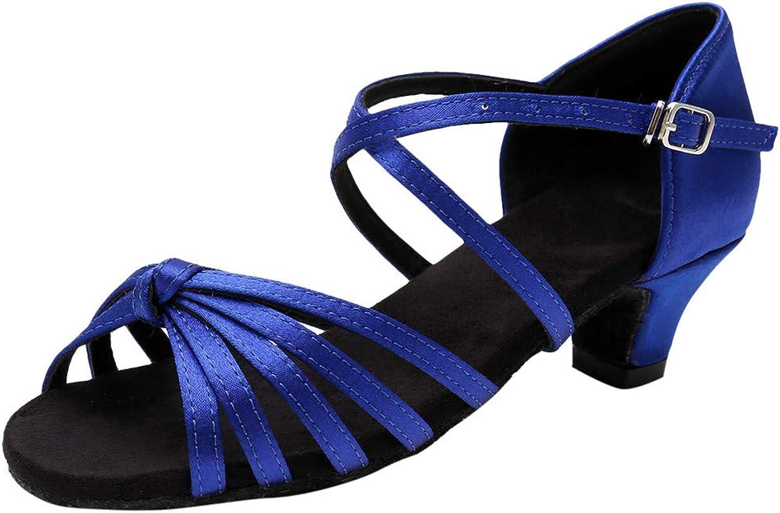 LNGRY Zapatos para bebé, para niñas y niños, Princesa Vendaje Latino Tango Dance Tacones Gruesos Sandalias - Azul - 12-13 años: Amazon.es: Ropa y accesorios