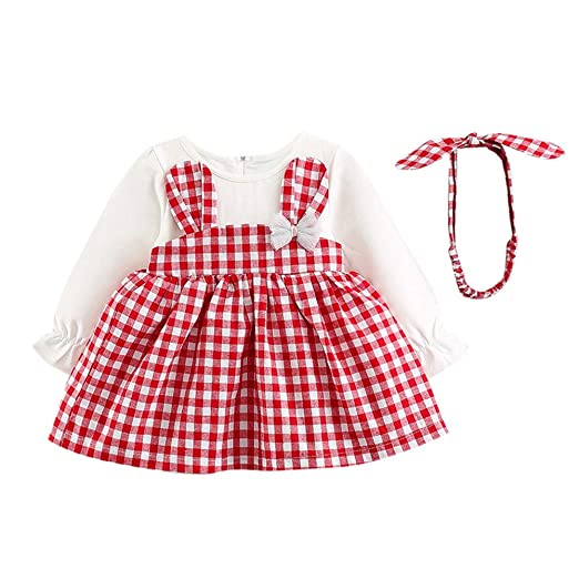 7e47f118df3 Amazon.com  Juner Baby Girls Long Sleeve Rabbit Ears Plaid Overalls Dress  Lovely A-Line Skirt + Headband  Clothing