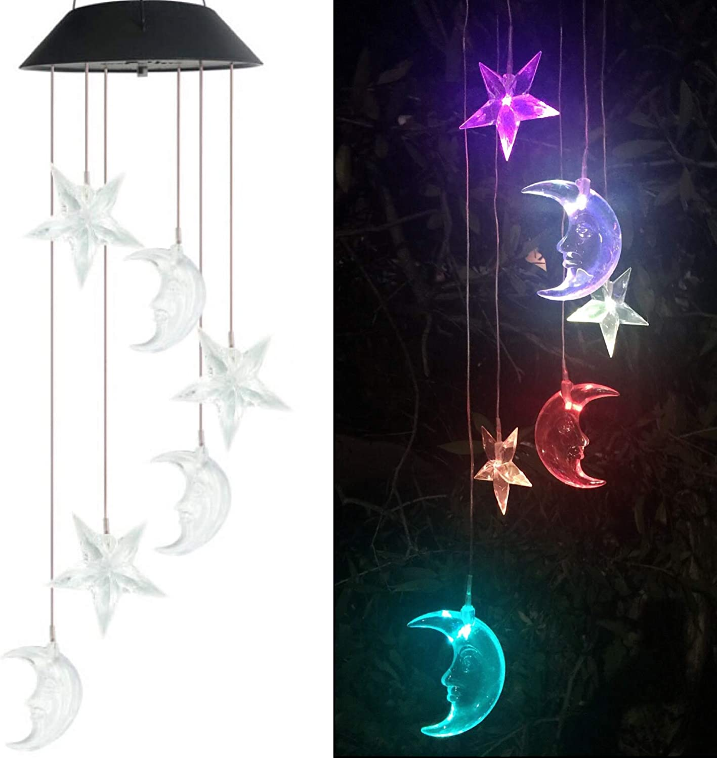Solar Wind Chimes Outdoor Color Changing Waterproof LED Light Mobile Star Moon Spiral Spinner Home Garden Patio Yard Decor Garden Decorative Indoor Outdoor Moon Star