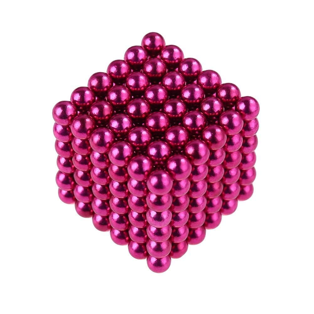 Toyjungle 5MM Magnetic Ball Set for Office Stress Relief Desk Sculpture Toy Perfect for Crafts, Jewelry and Education Magnetized Fidget Cube Provides Relief for Anxiety, ADHD, Autism, Boredom Pink