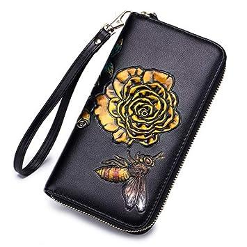 Wallet Cremallera De Cuero Carpeta De Mujer Manual De Moda Dibujo Embrague De Flor Sólida Bolso De Alta Capacidad 20X11cm Oro: Amazon.es: Equipaje