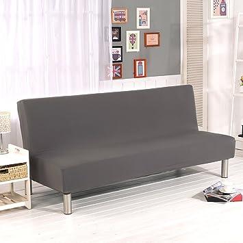 Cornasee Sofabezug 3 Sitzer Ohne Armlehne Clic Clac Sofahusse Stretch Bettcouch Schonbezug Einfarbig Grau
