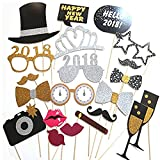 21PCS 2018 New Year's Eve Party Card Masks Photo Booth Props Supplies Decorations by 7-gost