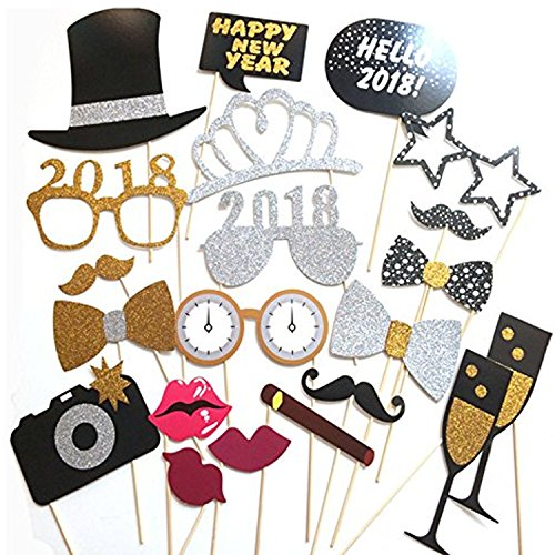 NEW YEARS EVE PHOTO BOOTH PROPS 2018 - 20 Pcs - New Years Eve Party Supplies - New Years Eve Photo Booth Props 2018 - New Years Eve Decorations