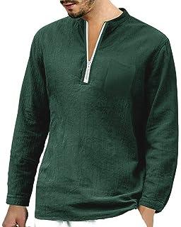 47139346419 Makkrom Mens Linen 3 4 Sleeve Henley Shirts Cotton Loose Casual Summer  Beach T Shirt