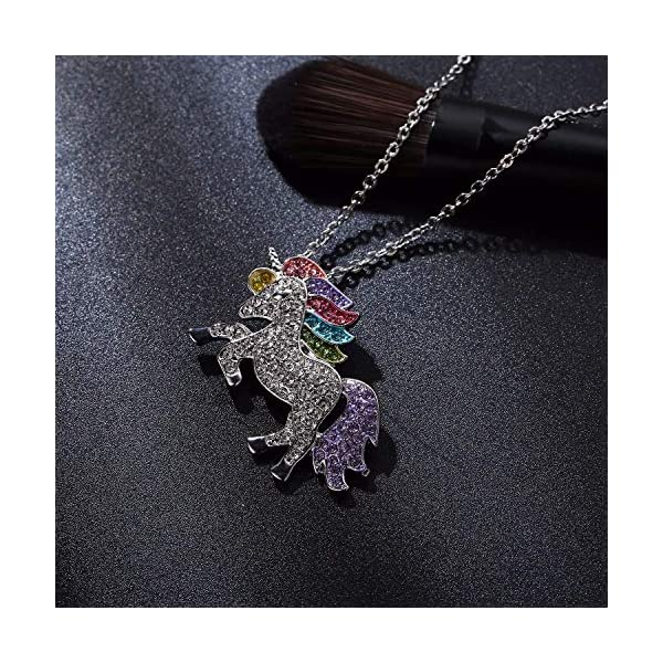 Mix Vogue Beautiful Rhinestone Unicorn Necklace Sweater Chain for Women, Unicorn Rainbow Necklace for Girls 4